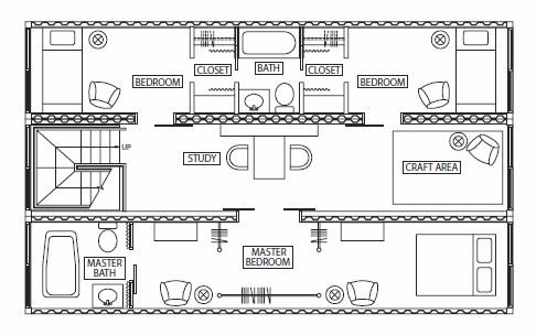 this plan uses 3 containers and has two normal sized bedrooms with a master bedroom there is a bathroom for the 2 bedrooms and a master bathroom for the - Sea Container Home Designs
