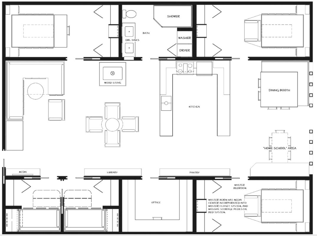 Container floor plan shipping container homes pinterest for Shipping container home building plans