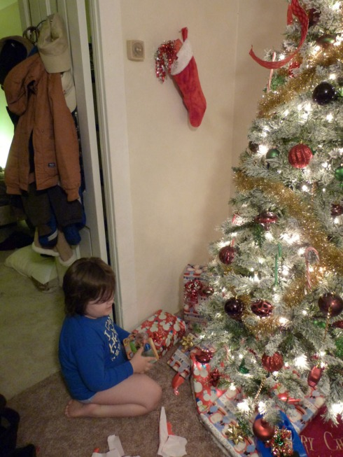 Christmas 2012 - Sizing up the loot - sm